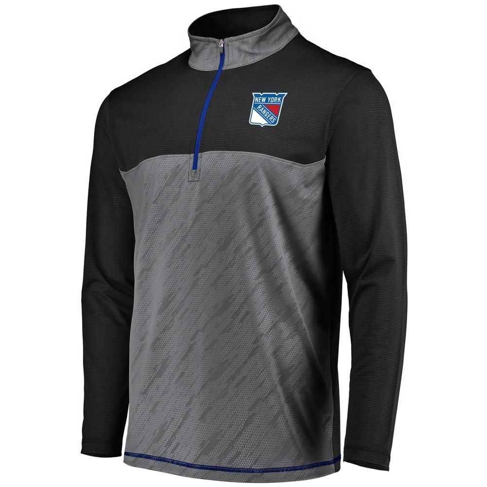 New York Rangers Men's Striped Geo Fuse Gray/ Black 1/4 Zip L