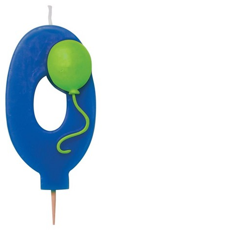 Creative Converting #0 Numeral Candle With Balloon Blue - image 1 of 1