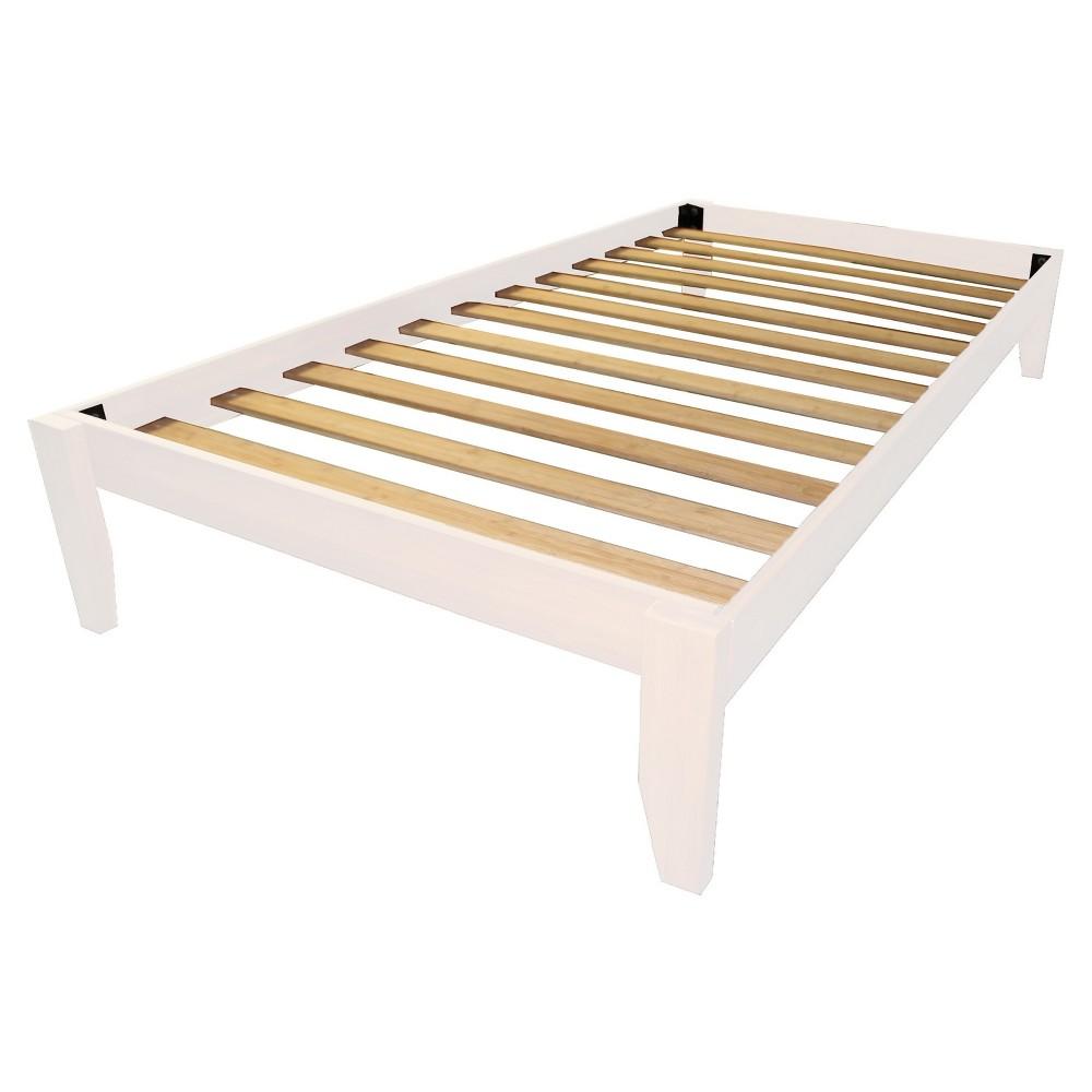 Gibraltar Solid Bamboo Wood Platform Bed Frame - Epic Furnishings, White