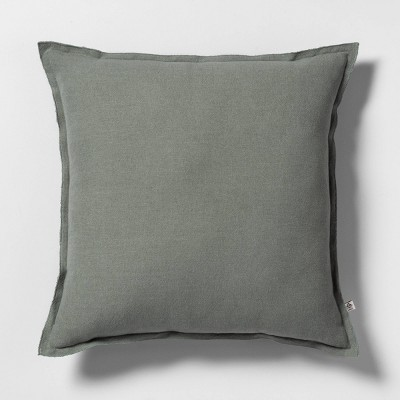 "18"" x 18"" Raw Edge Throw Pillow Foggy Day Green - Hearth & Hand™ with Magnolia"