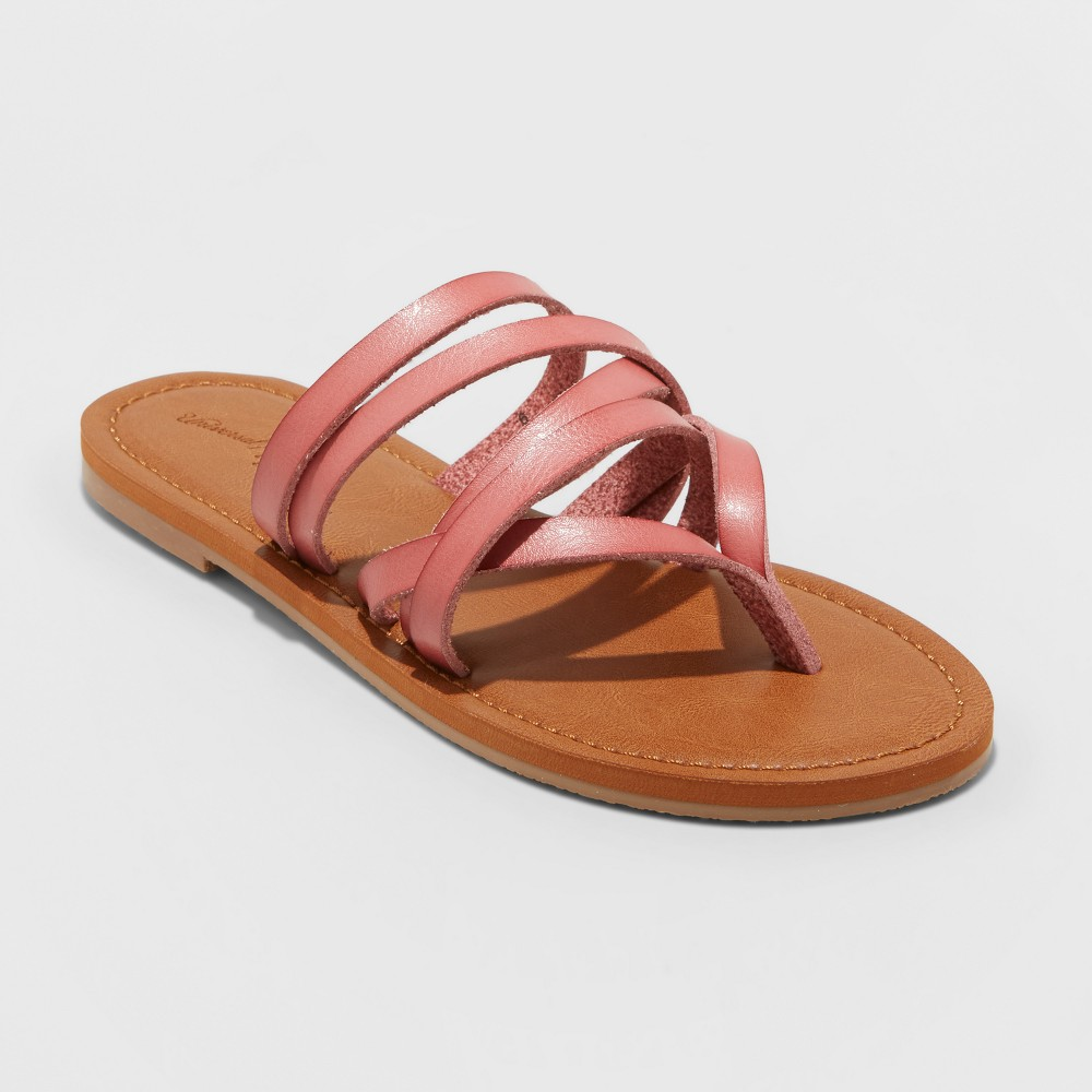 Women's Maritza Multi Strap Toe Slide Sandal - Universal Thread Pink 12