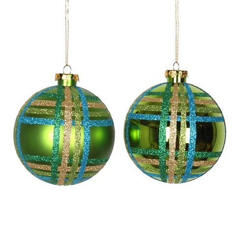 4ct Green/Blue/Gold Plaid Shiny/Matte Glitter Ball Christmas Ornament Set - image 1 of 1