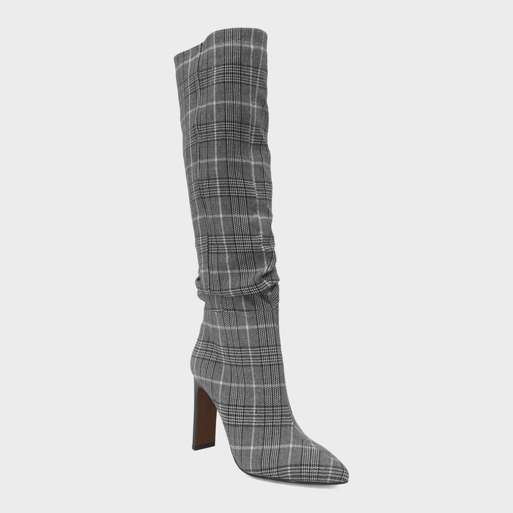 Women's Leigh Plaid Slouch Tall Fashion Boots - Who What Wear Black 12