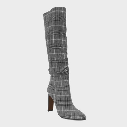Women's Leigh Plaid Slouch Tall Fashion Boots - Who What Wear™ Black - image 1 of 3
