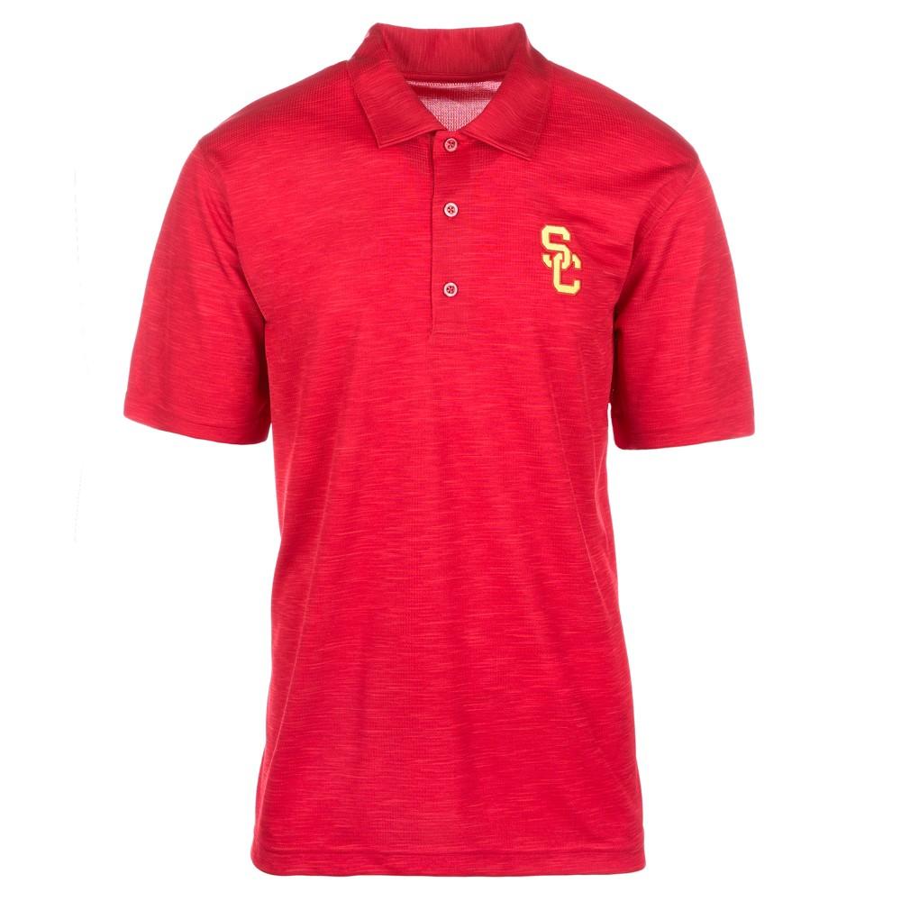 Usc Trojans Men's Short Sleeve Textured Polo Shirt - Red - M