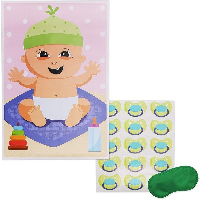Juvale Pin The Pacifier On The Baby Party Shower Game, 16.5 x 24.5 Inches