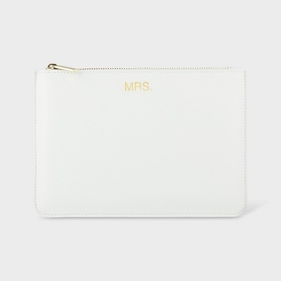 Mrs. Vegan Leather Clutch White - Cathy's Concepts