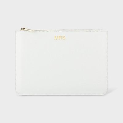 """Mrs"" Vegan Leather Clutch White"