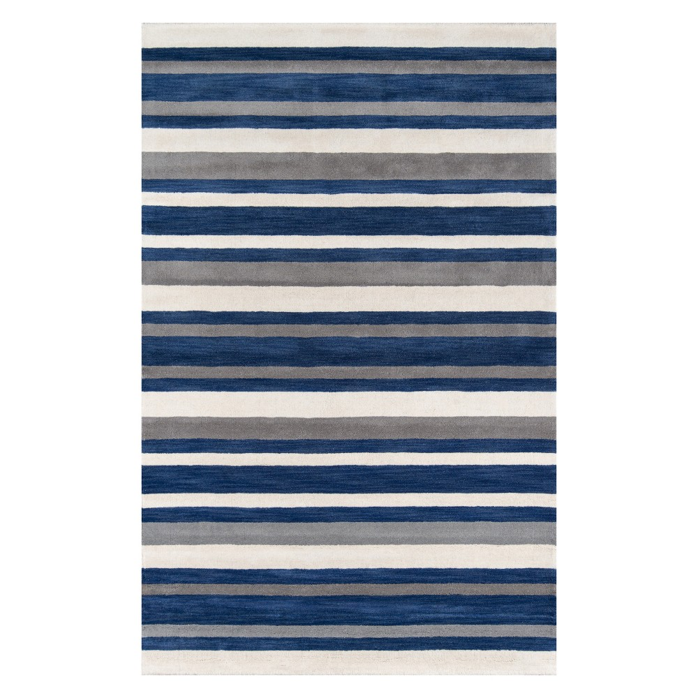 "Image of ""2'3""""X3'9"""" Stripe Tufted Accent Rug Navy - Momeni, Blue"""