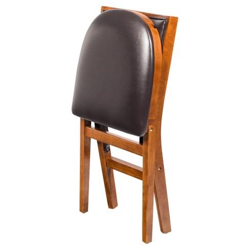 Retro Upholstered Back Folding Chair Set Of 2 Fruitwood Stakmore Target
