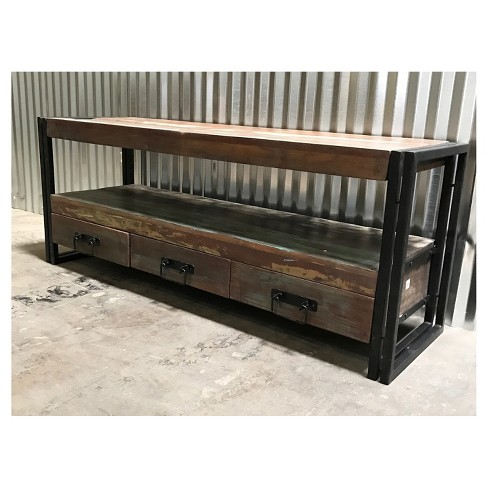 Industrial Old Reclaimed Wood And Iron 3 Drawer 70 Tv Console Timbergirl