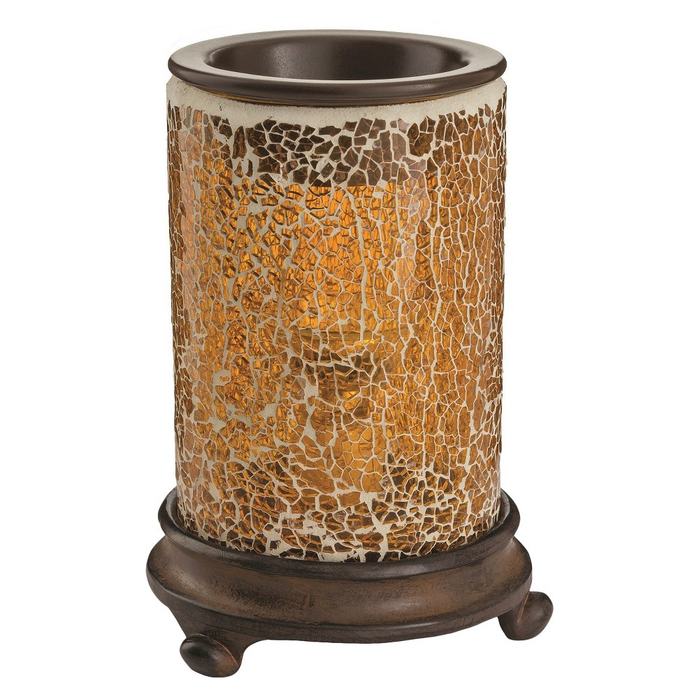Image of Crackled Amber Mosaic Glass Illumination Fragrance Warmer - Candle Warmers Etc., Yellow