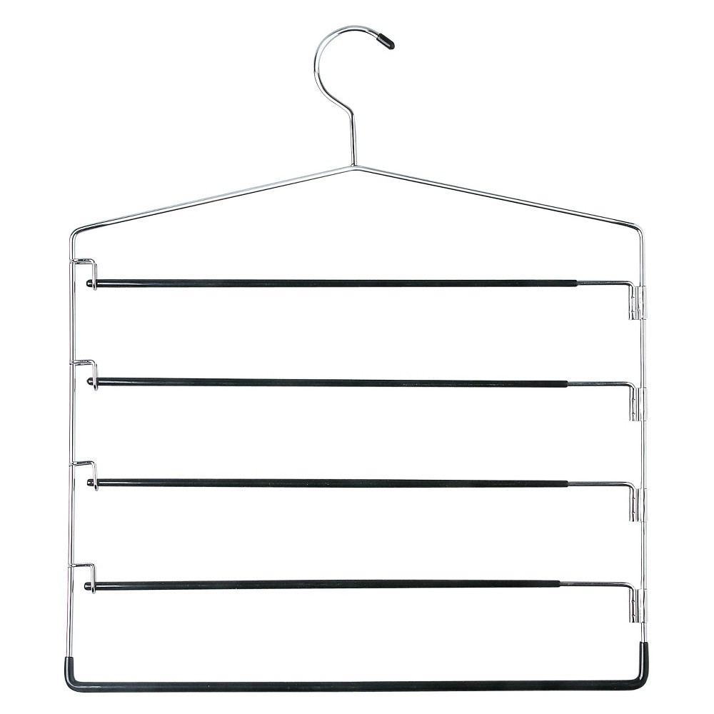 Image of 5-Tier Swinging Arm Pant Rack - Chrome/Black (2pk), Silver Black