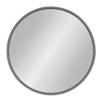 Kate & Laurel 21.6 x21.6  Travis Round Wood Accent Decorative Wall Mirror Gray