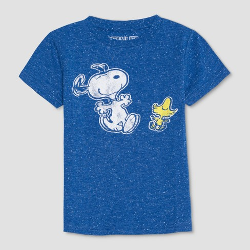 Toddler Boys' Peanuts Snoopy and Woodstock Short Sleeve T-Shirt - Blue - image 1 of 2