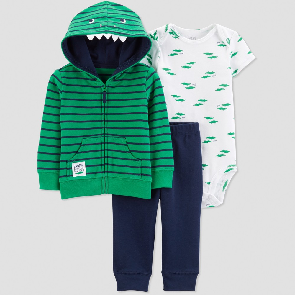 Baby Boys' 3pc Gator Short Sleeve Cotton Cardigan Set - Just One You made by carter's Green/White Newborn