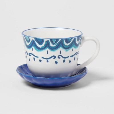 2pc Stoneware Blue Print Cup and Saucer Set - Opalhouse™