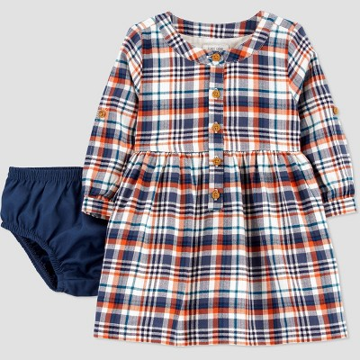 Baby Girls' Plaid Long Sleeve Dress with Diaper Cover - Just One You® made by carter's Newborn