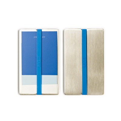 """Design Ideas Give & Take Identity Case Holder - Metal Wallet for Business Cards - Silver and Blue, 3.5"""" x 2.4"""" x 0.3"""""""