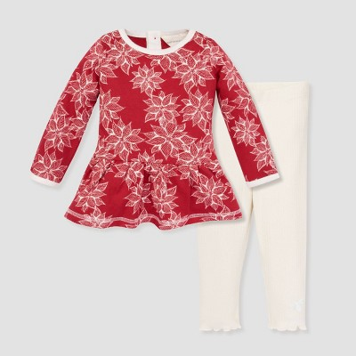 Burt's Bees Baby® Baby Girls' Organic Cotton Painted Poinsettia Tunic and Leggings Set - Red 3-6M