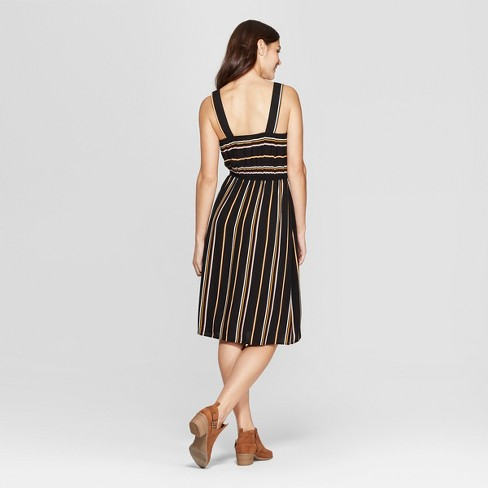 7caaf7197cf Women s Striped Strappy Square Neck Midi Dress - Xhilaration™ Black Yellow    Target