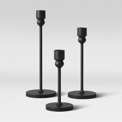 3pc Aluminum Tapered Candle Holder Black - Project 62™