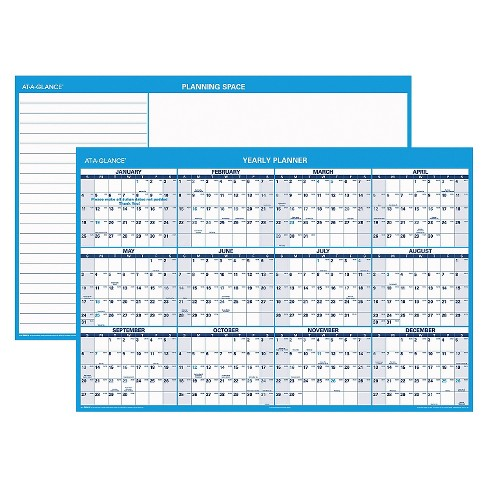 AT-A-GLANCE® Horizontal Erasable Wall Planner 48 x 32 Blue/White 2018 - image 1 of 1