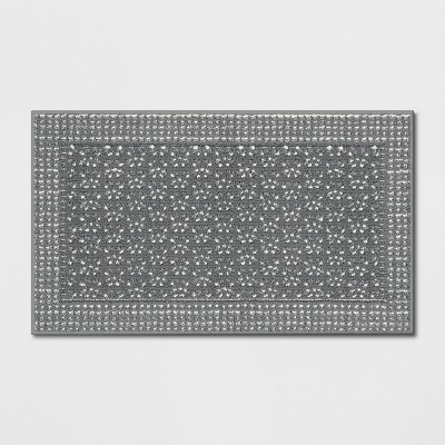 "1'8""X2'10"" Washable Geometric Border Tufted Accent Rug Radiant Gray - Threshold™"