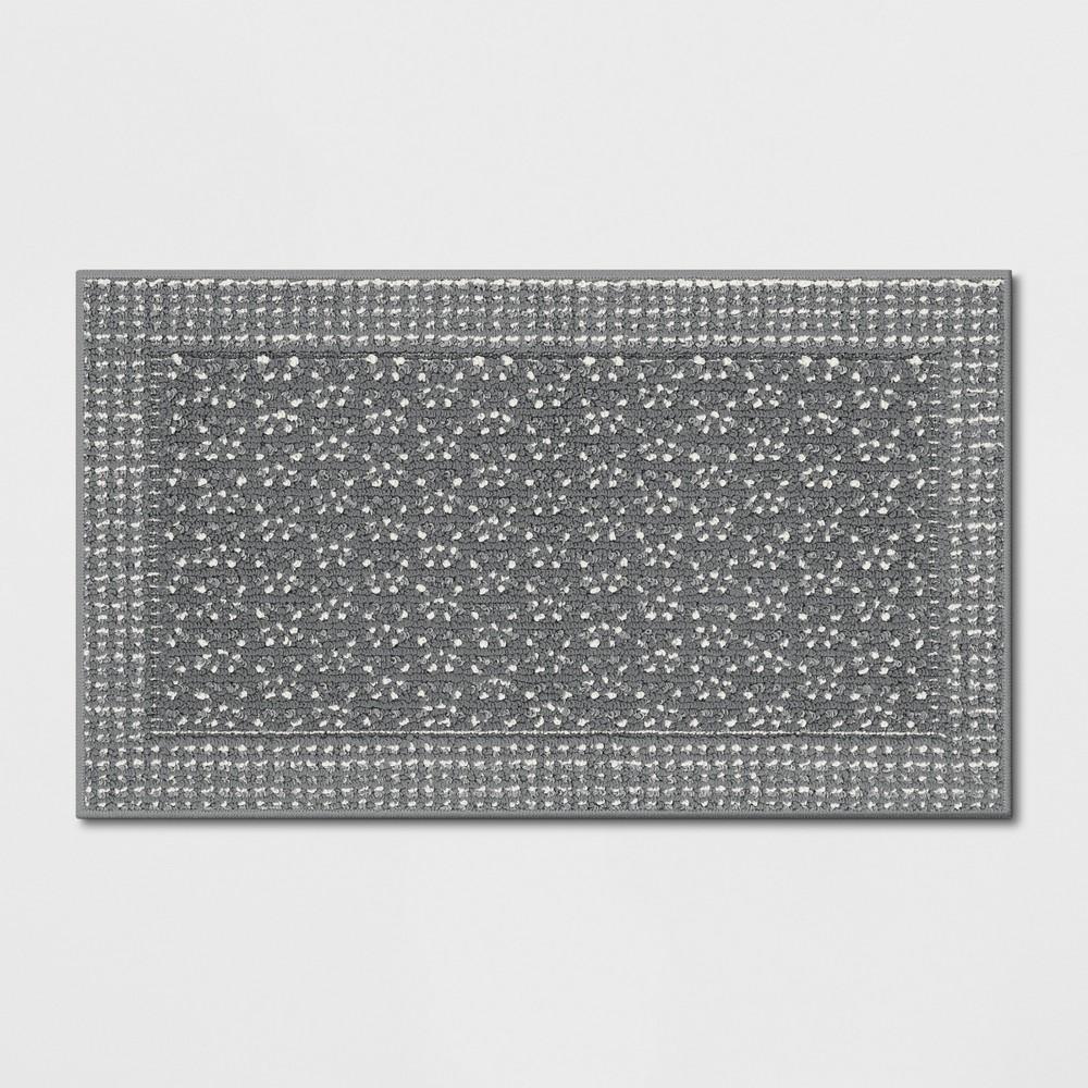 Washable Geometric Border Tufted Accent Rug Radiant Gray