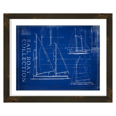 """26"""" x 22"""" Matted to 2"""" Sail Boat Picture Framed Black - PTM Images"""
