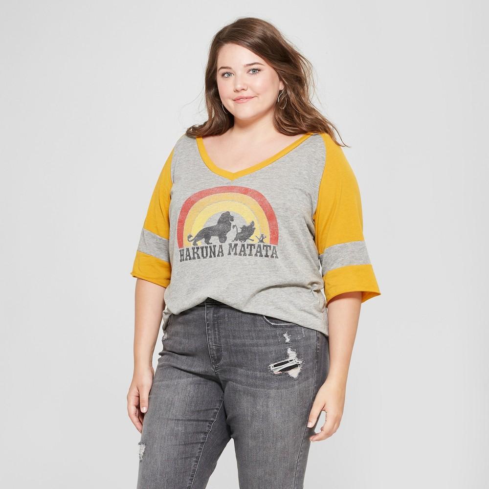 Women's Disney Plus Size 3/4 Sleeve Hakuna Matata Graphic T-Shirt (Juniors') Heather Gray 3X