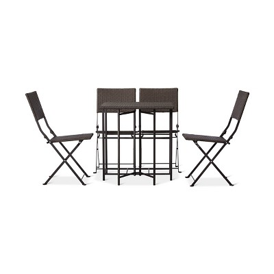 5pc All-Weather Wicker Patio Dining Set - Brown - Courtyard Creations