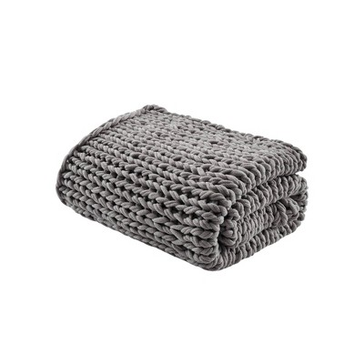 "50""x60"" Chunky Double Knit Handmade Throw Blanket Charcoal"