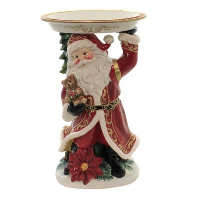 "Tabletop 15.0"" Santa Figurine With Plate Christmas Tree Poinsettia Cosmos Gifts Corp.  -  Serving Bowls"