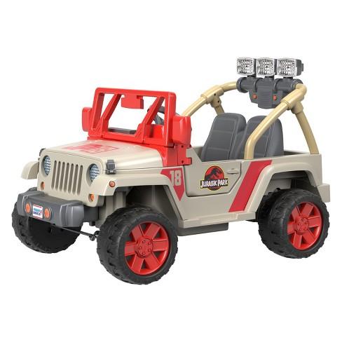 Power Wheels Jurassic Park Jeep Wrangler Cream Red Target