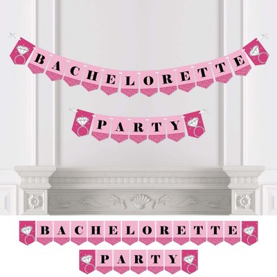 Big Dot of Happiness Bride-to-Be - Classy Bachelorette Party Bunting Banner - Pink Bridal Shower Decorations - Bachelorette Party