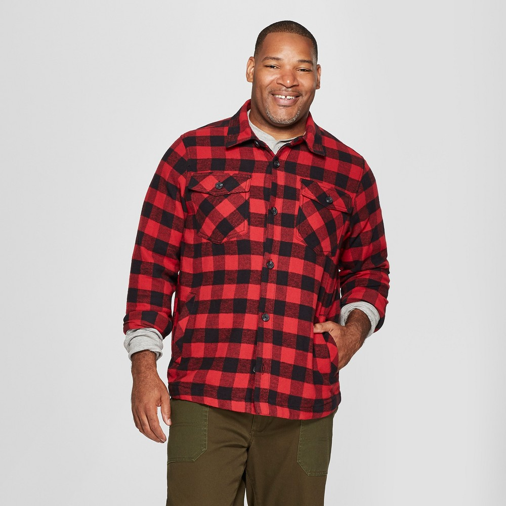 Men's Tall Long Sleeve Buffalo Check Plaid Wool Blend Shirt Jacket - Goodfellow & Co Ripe Red Xlt