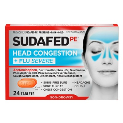Sudafed PE Head Congestion + Flu Severe Tablets for Adults - 24ct