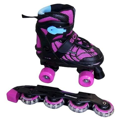 Schwinn Adjustable 2-in-1 Quad/Inline Skate - Black/Pink (5-8) - image 1 of 2