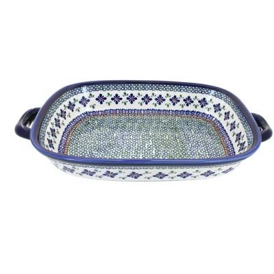 Blue Rose Polish Pottery Mosaic Flower Large Baker with Handles