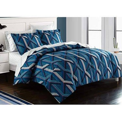 Twin XL Geo Hex Bed in a Bag Blue - Heritage Club