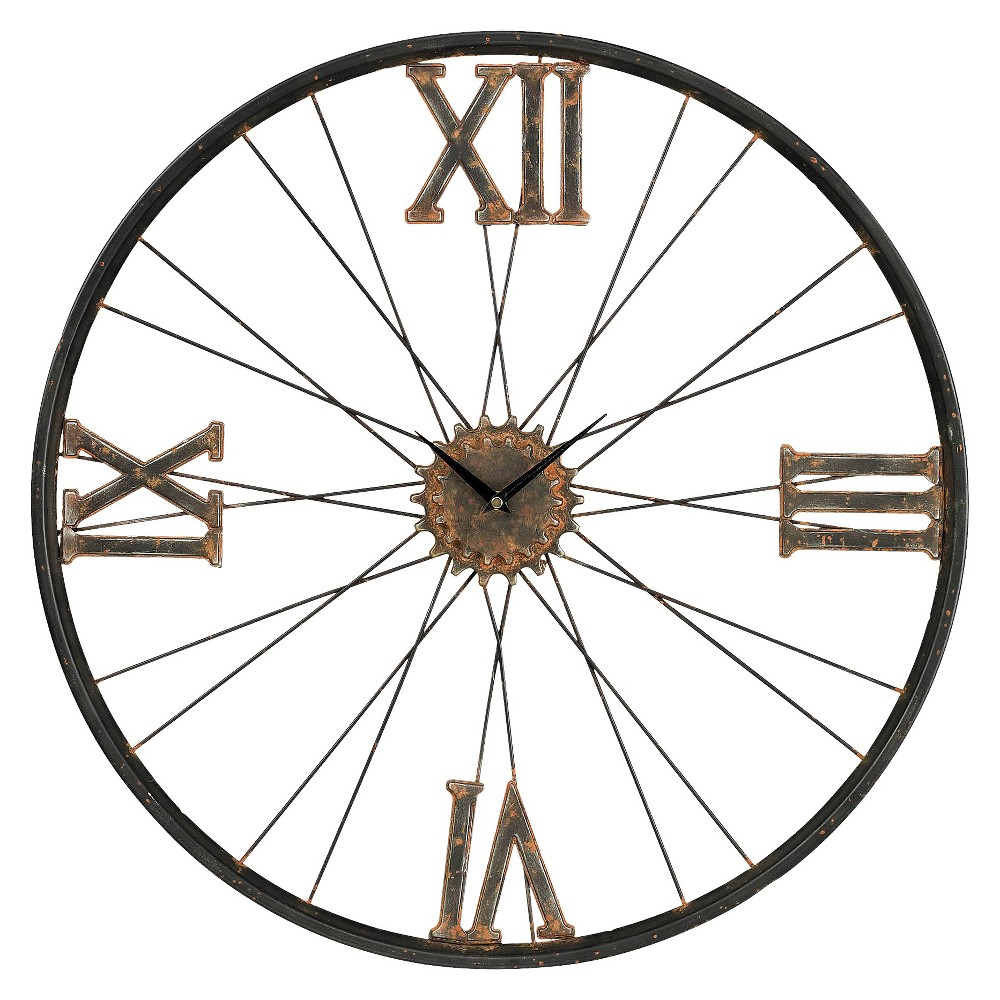 Image of Iron Wall Clock Distressed Metal - Lazy Susan