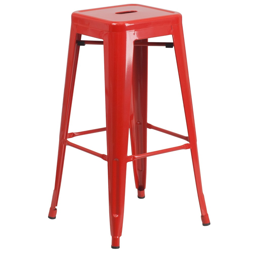 Riverstone Furniture Collection 30 Backless Metal Stool Red