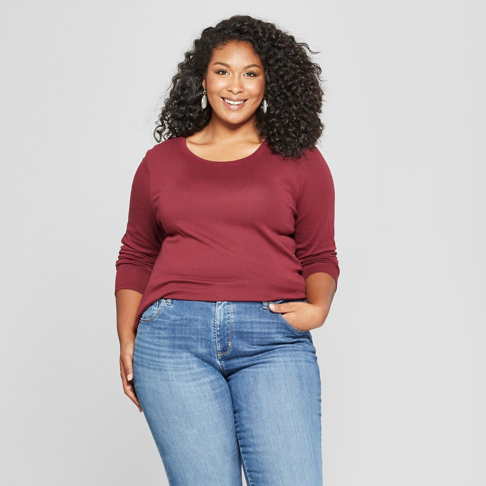 Women's Plus Size Crew Neck Long Sleeve T-Shirt - Ava & Viv Red 4X