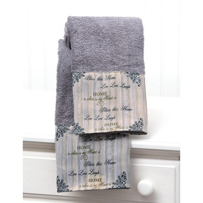 Lakeside Inspirational Farmhouse Hand Towels with Sentiments, Distressed Print - Set of 2