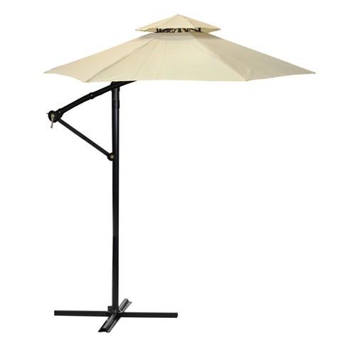 LB International 10' Octagon Solid Off-Set Outdoor Patio Umbrella with Zinc Alloy Crank and Tilt - Brown/Black - image 1 of 1