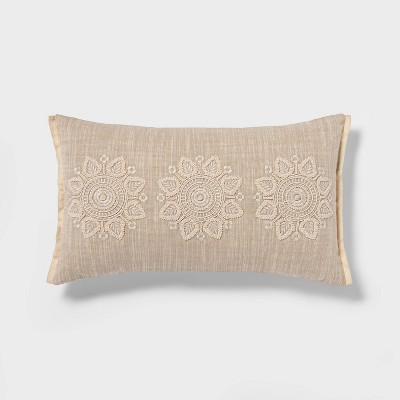 Oblong Embroidered Medallion Throw Pillow Taupe - Threshold™