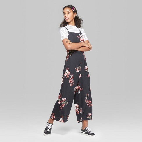 e4430c69eed Women s Floral Print Strappy Square Neck Jumpsuit - Wild Fable™ Black XXL    Target