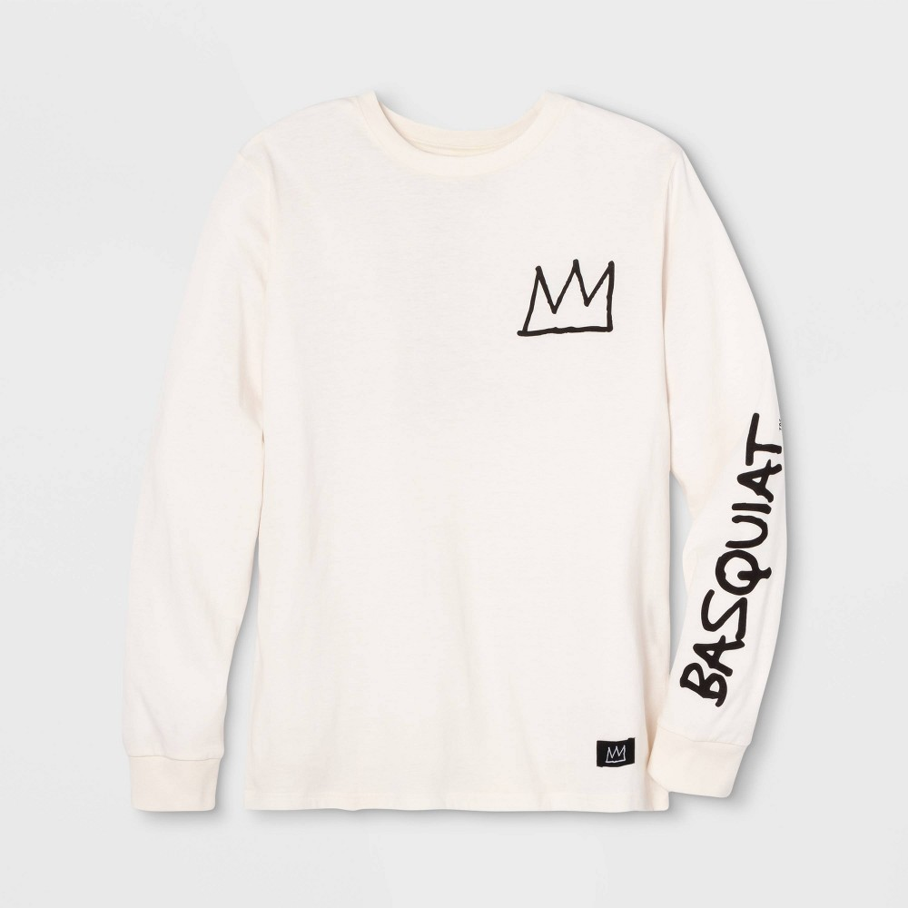 Image of Men's Jean-Michel Basquiat Crown Signature Long Sleeve Graphic T-Shirt - Cream 2XL, Men's, Beige