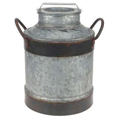 Stonebriar Farmhouse Galvanized Milk Jug with Rust Trim